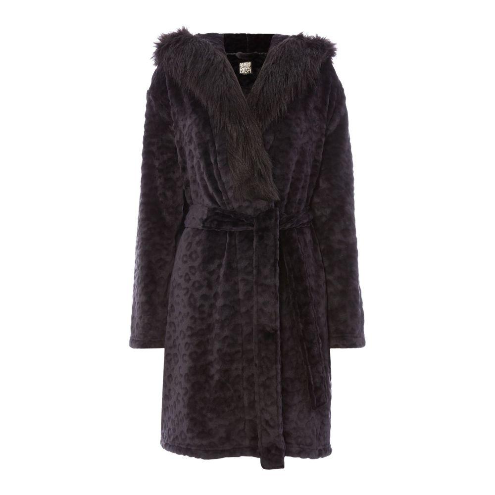 ビバ Biba レディース インナー・下着 ガウン・バスローブ【Leopard Fur Hooded Robe】black