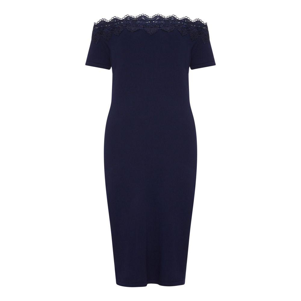 ユミ Yumi レディース ワンピース・ドレス ボディコンドレス【Knitted Lace Bardot Bodycon Dress】navy