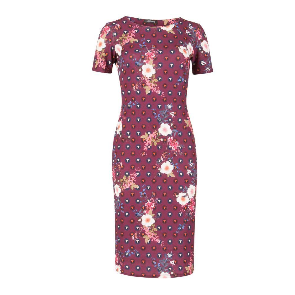 フィーバー フィッシュ Feverfish レディース ワンピース・ドレス ボディコンドレス【Petal Geo Bodycon Dress】red
