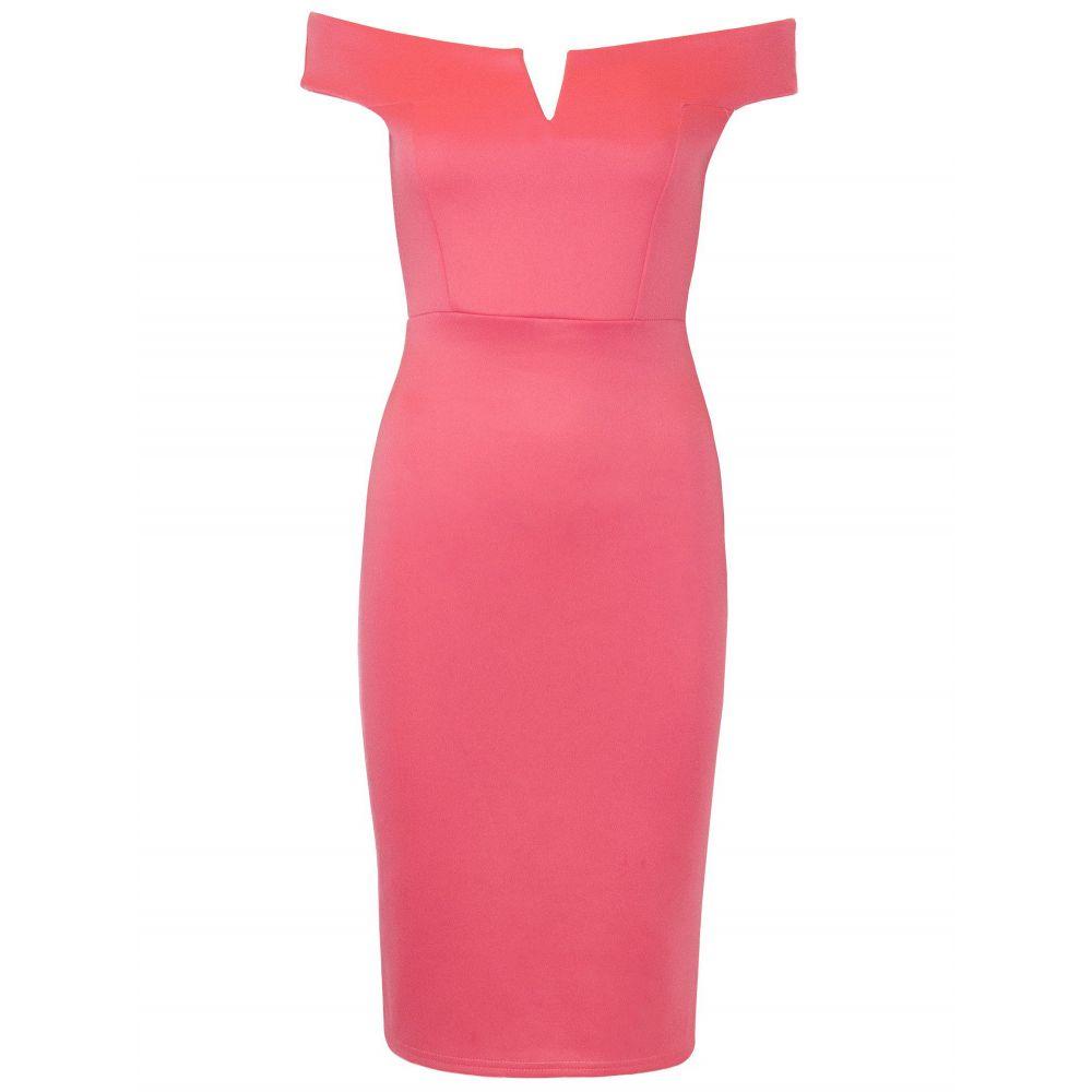 ビー ジェラス Be Jealous レディース ワンピース・ドレス ボディコンドレス【Bodycon Bardot Dress】coral