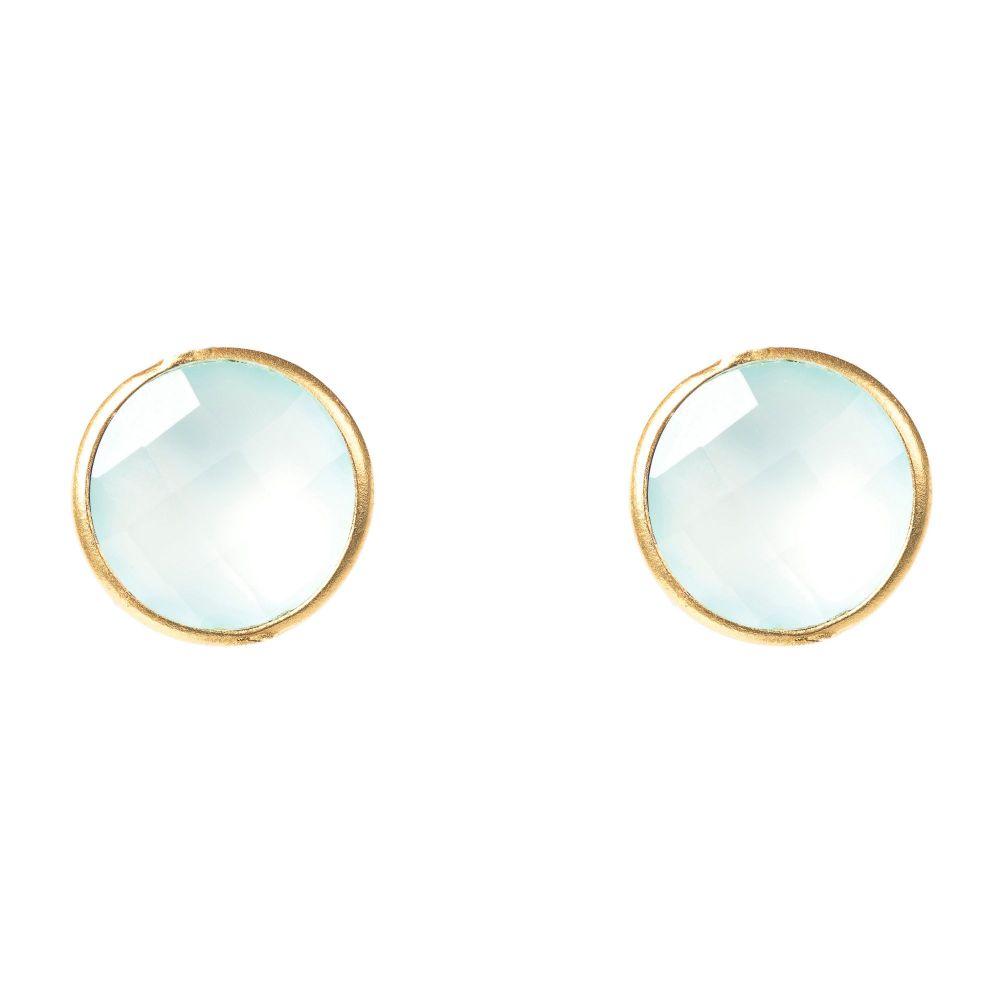 ラテライトロンドン Latelita London レディース ジュエリー・アクセサリー イヤリング・ピアス【Circle Stud Earring Gold Aqua】aqua