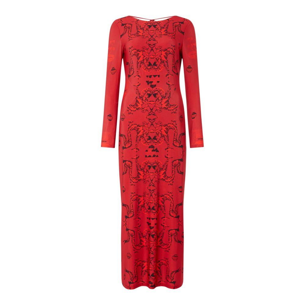 イッサ ISSA レディース ワンピース・ドレス ボディコンドレス【Dragon Printed Midi Dress】red multi