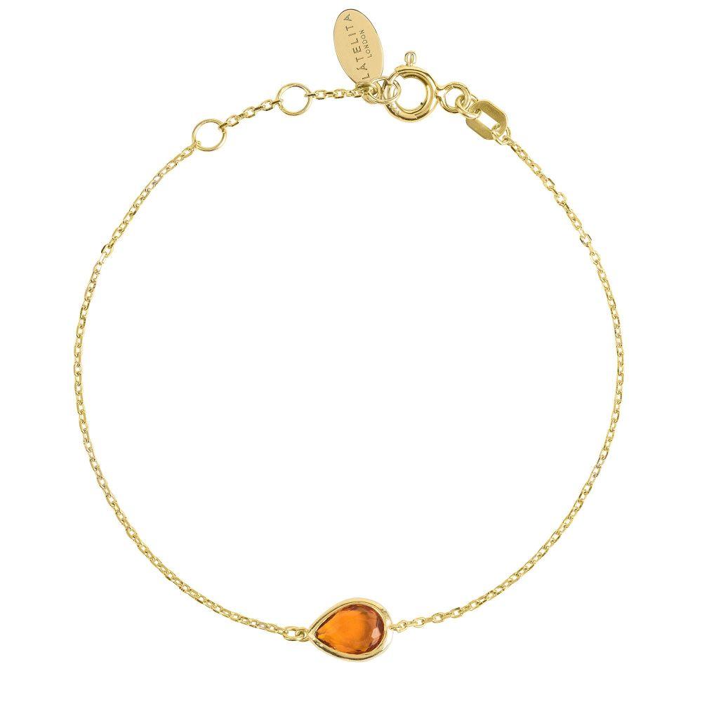 ラテライトロンドン Latelita London レディース ジュエリー・アクセサリー ブレスレット【Mini Teardrop Bracelet Gold Citrine】saffron