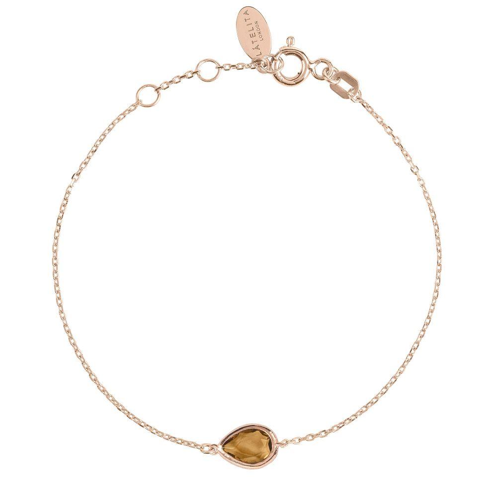 ラテライトロンドン Latelita London レディース ジュエリー・アクセサリー ブレスレット【Mini Teardrop Bracelet Rose Gold Smokey】brown