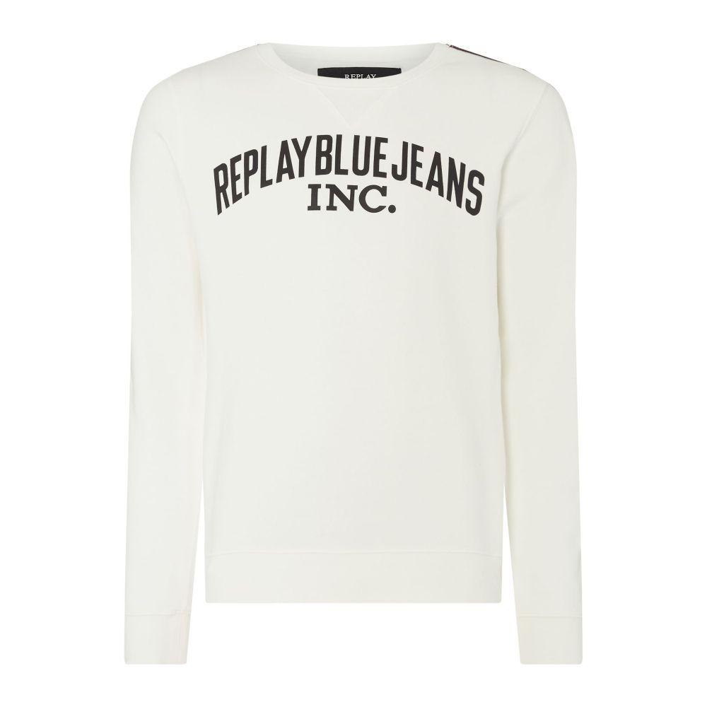 リプレイ Replay メンズ トップス スウェット・トレーナー【Cotton Sweatshirt Stripes】off white