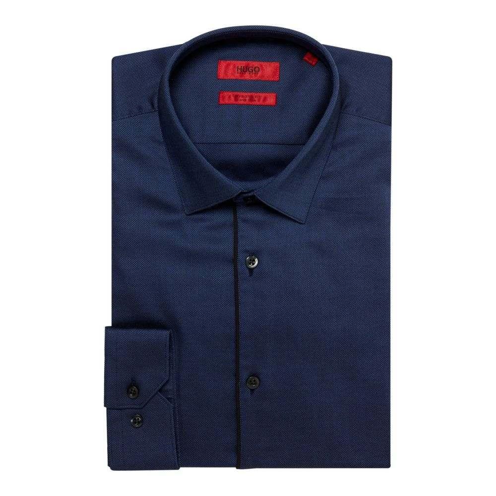 ヒューゴ ボス Hugo メンズ トップス シャツ【Esmo Extra Slim Textured Contrast Piping Shirt】navy