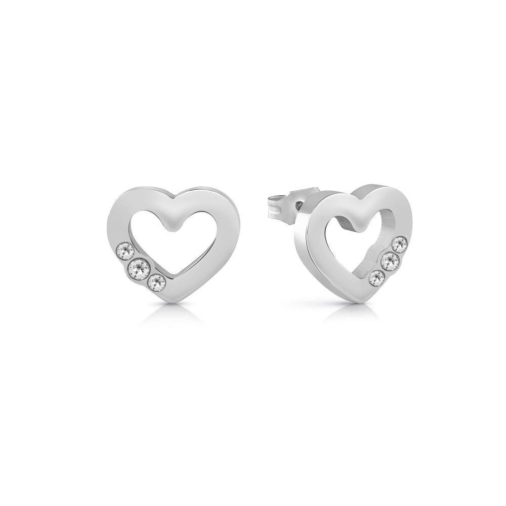 ゲス Guess レディース ジュエリー・アクセサリー イヤリング・ピアス【Small Heart Frame Stud Earrings】metallic