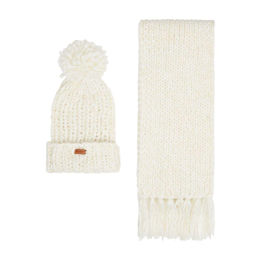 バーブァー Barbour レディース 帽子 ニット【Chunky Knit Hat And Scarf Set】cream