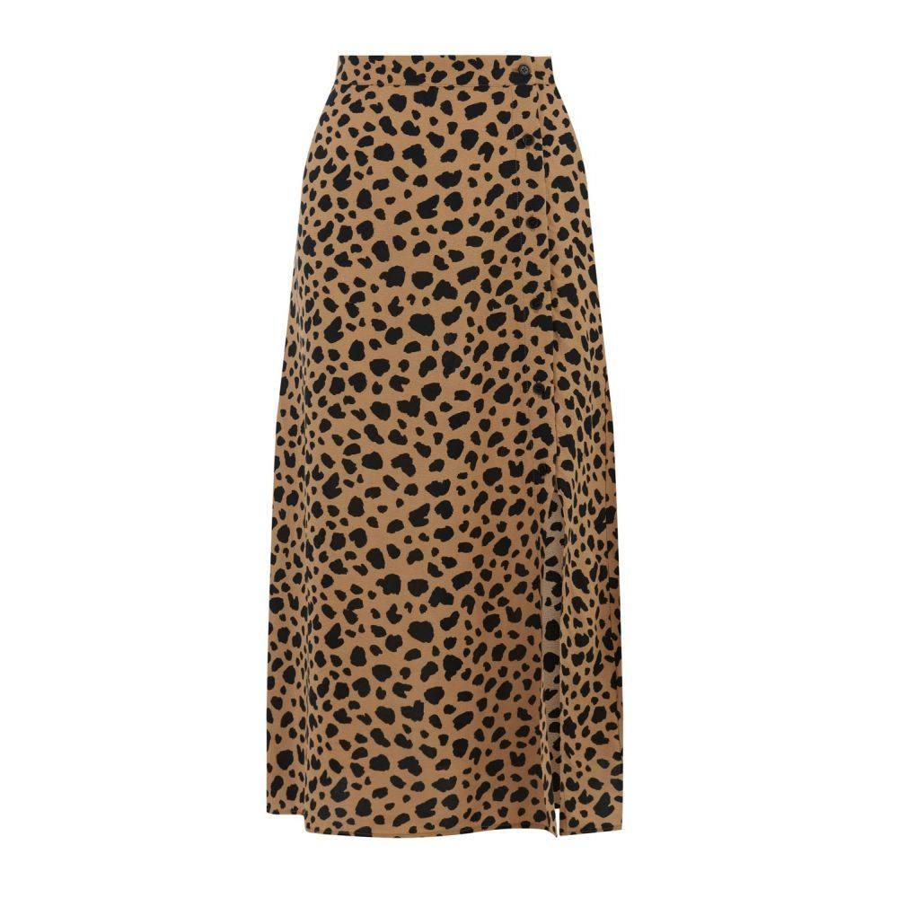 ウェアハウス Warehouse レディース スカート ひざ丈スカート【Animal Print Button Side Skirt】tan