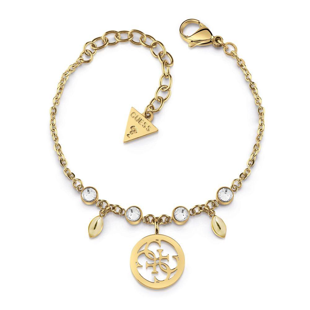 ゲス Guess レディース ジュエリー・アクセサリー ブレスレット【Clear Crystal & 4g Logo Bracelet】gold