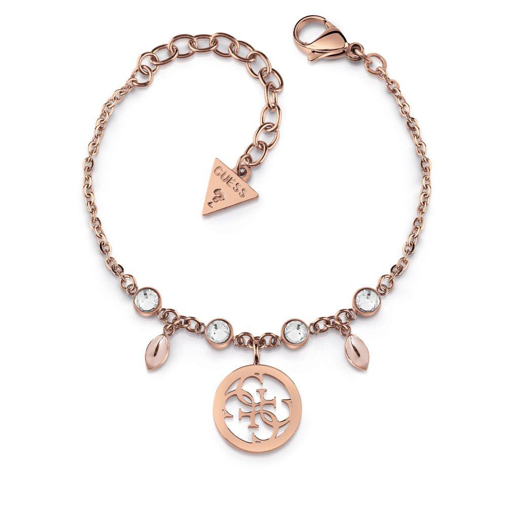 ゲス Guess レディース ジュエリー・アクセサリー ブレスレット【Clear Crystal & 4g Logo Bracelet】rose gold