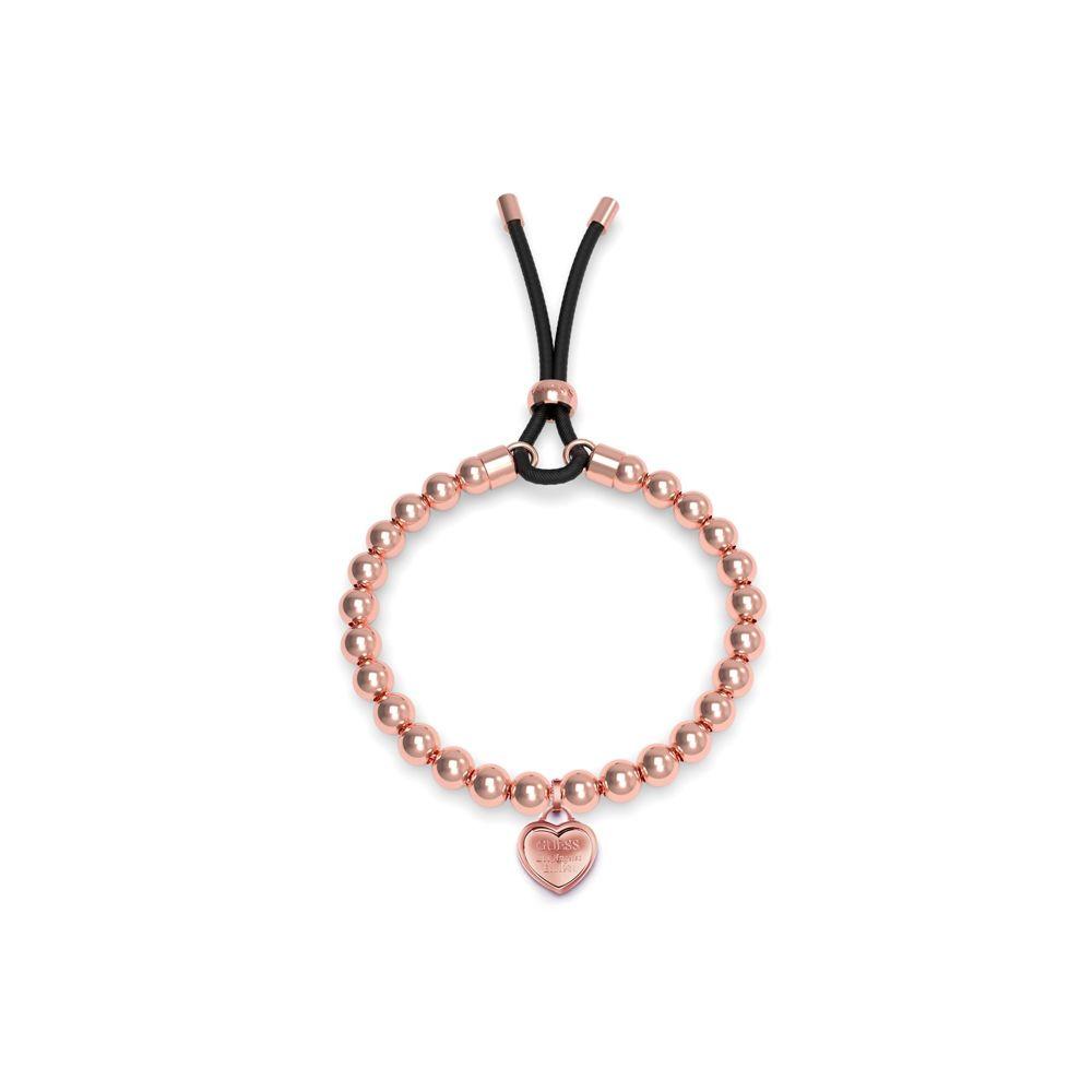 ゲス Guess レディース ジュエリー・アクセサリー ブレスレット【Bead & Heart Black Cord Bracelet】rose gold