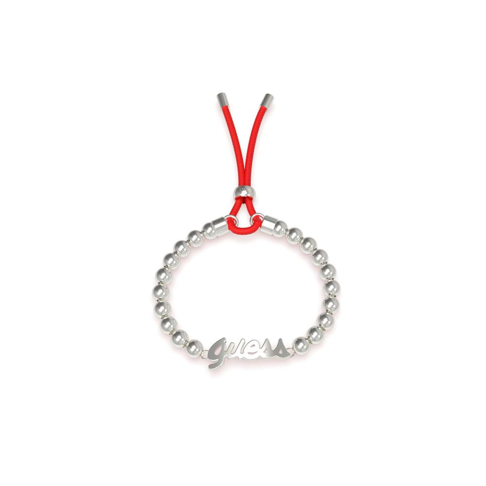 ゲス Guess レディース ジュエリー・アクセサリー ブレスレット【Beads & Logo Red Cord Bracelet】metallic