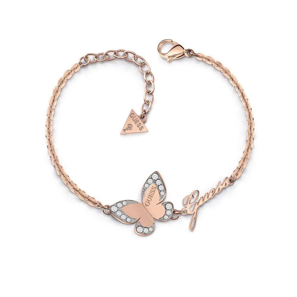 ゲス Guess レディース ジュエリー・アクセサリー ブレスレット【Butterfly Charm Bracelet】rose gold
