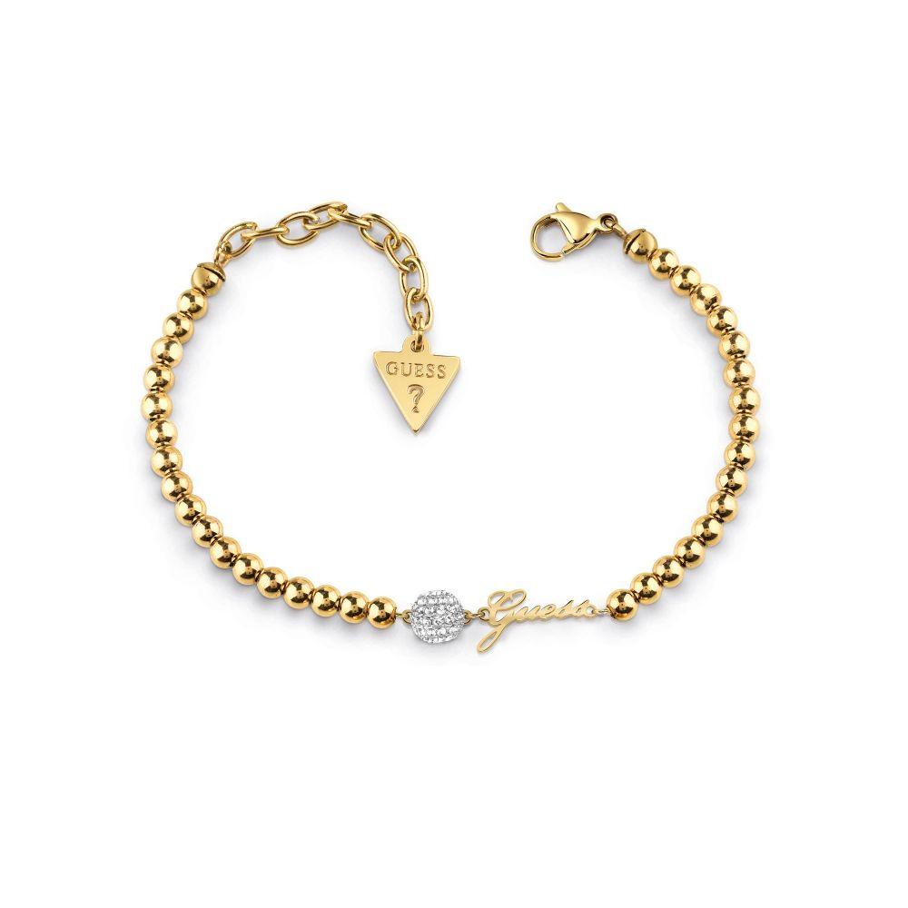 ゲス Guess レディース ジュエリー・アクセサリー ブレスレット【Pave Bead & Beaded Chain Bracelet】gold