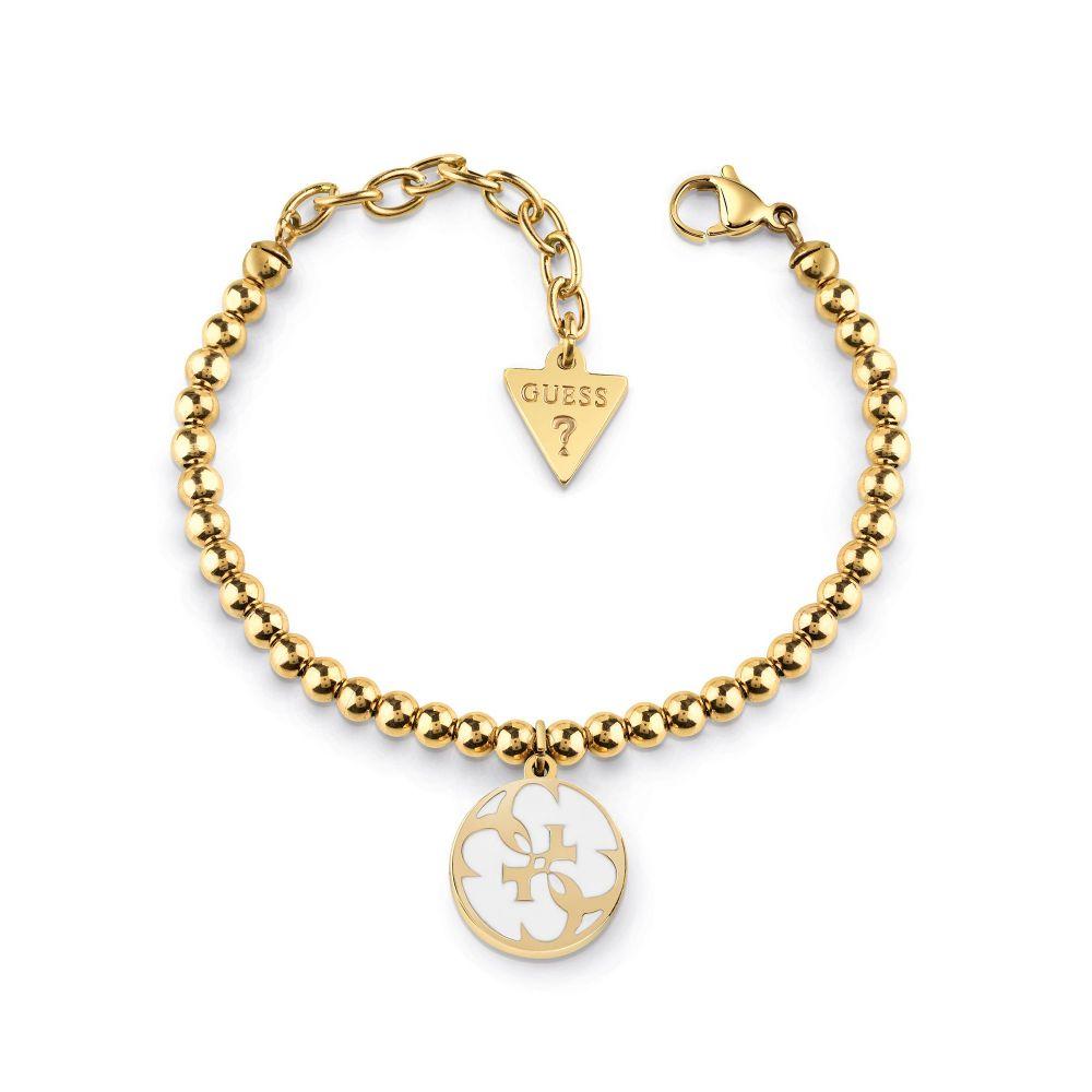 ゲス Guess レディース ジュエリー・アクセサリー ブレスレット【White Enamel & 4g Beaded Bracelet】gold