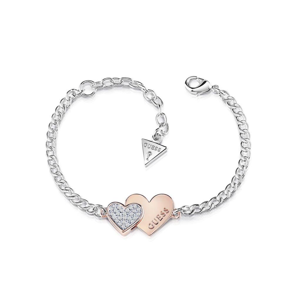 ゲス Guess レディース ジュエリー・アクセサリー ブレスレット【Double Heart Bracelet】metallic