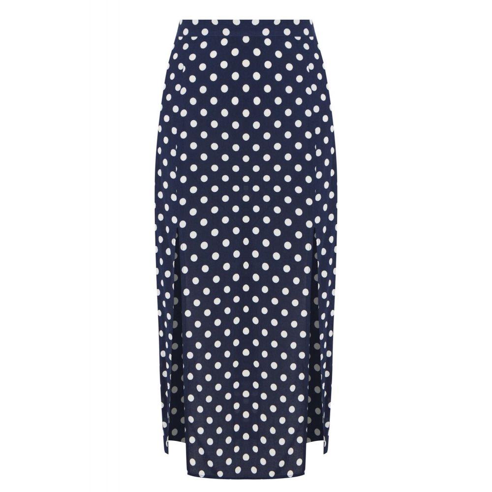 オアシス Oasis レディース スカート ひざ丈スカート【Spot Print Split Midi Skirt】blue multi