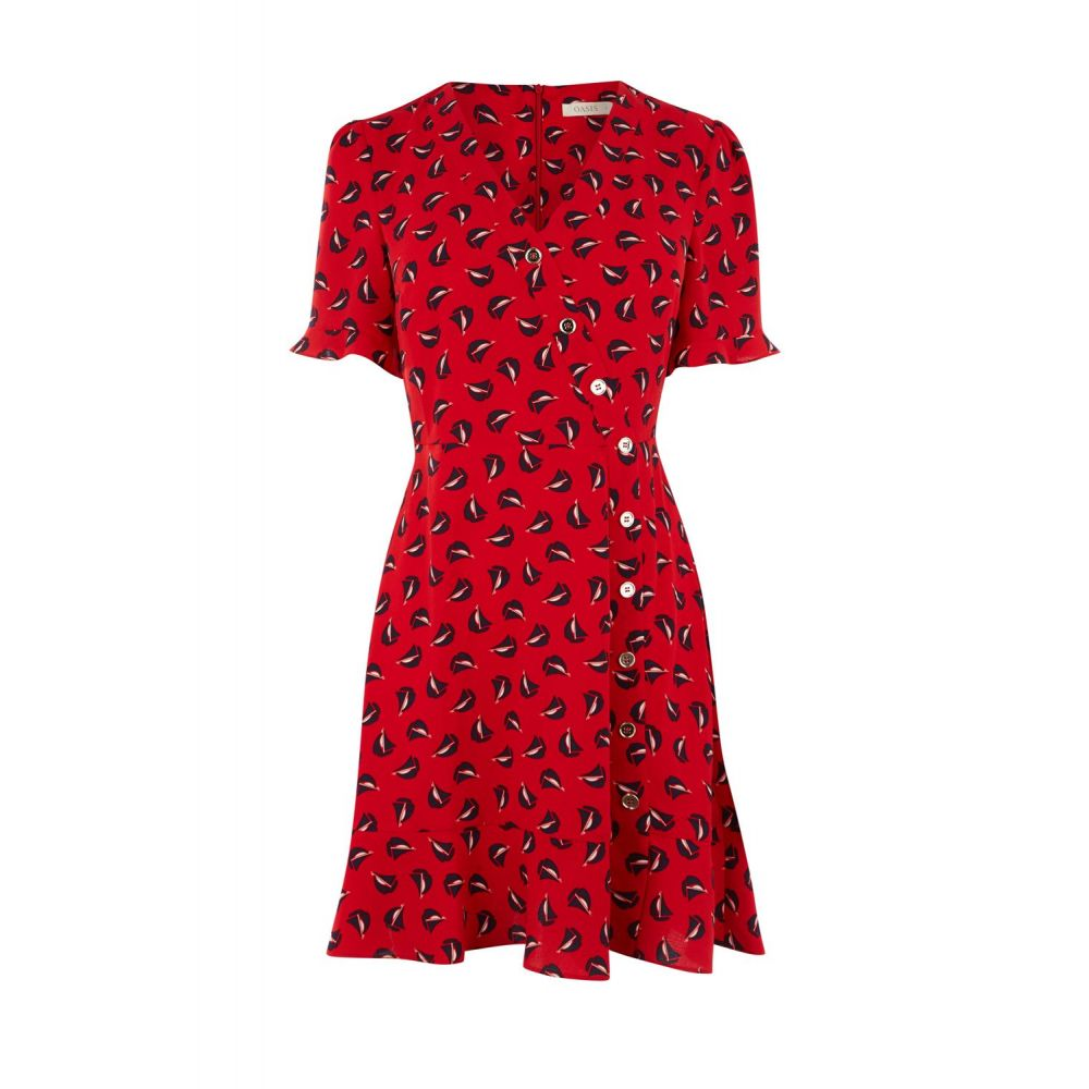 オアシス Oasis レディース ワンピース・ドレス ワンピース【Boat Print Skater Dress】red multi