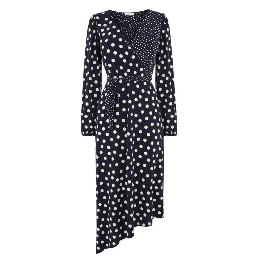 オアシス Oasis レディース ワンピース・ドレス ワンピース【Patched Spot Midi Dress】blue multi