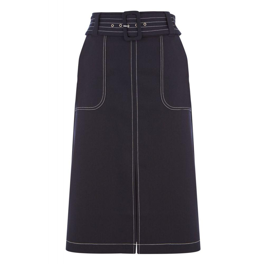 オアシス Oasis レディース スカート ひざ丈スカート【Contrast Stitch Skirt】navy