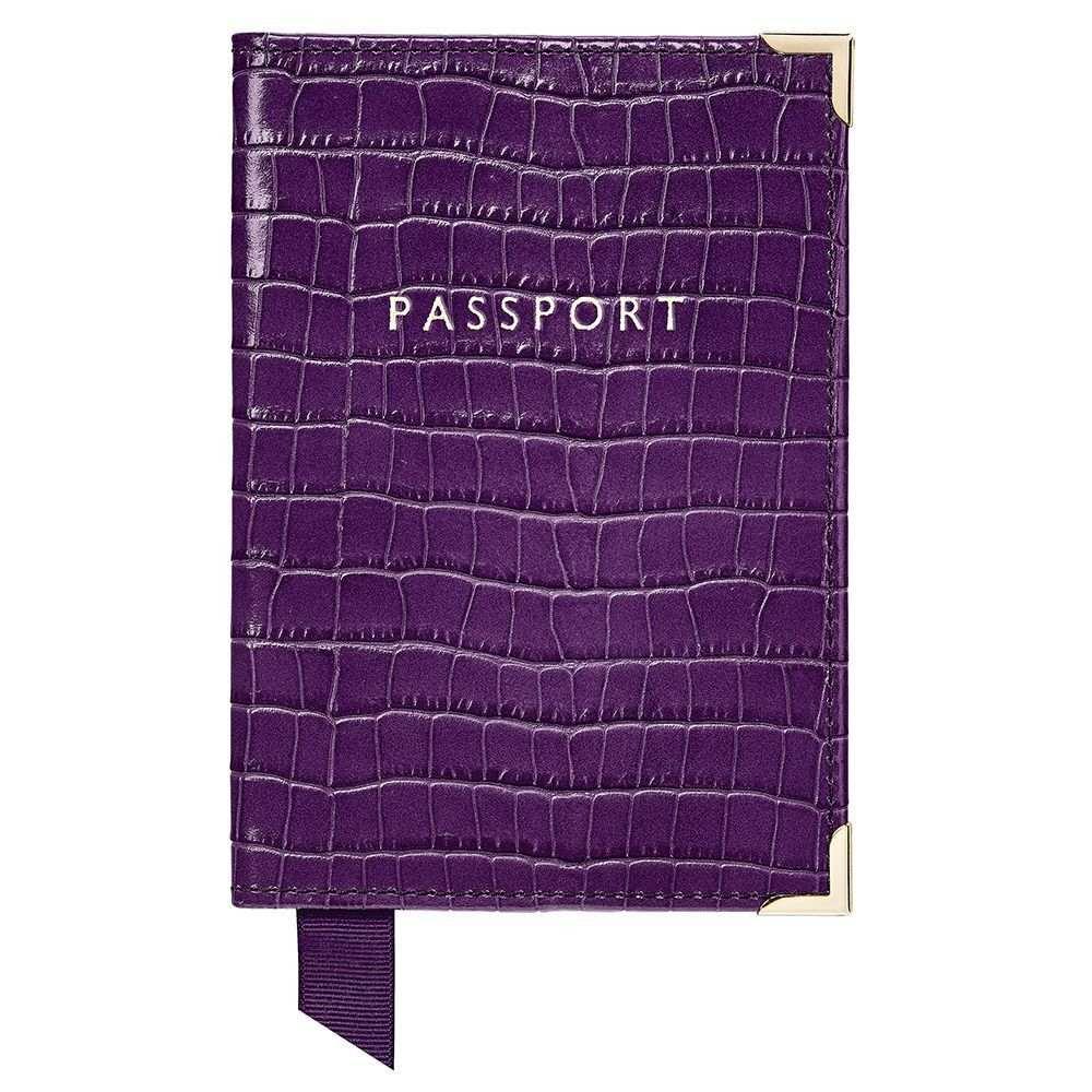 アスピナル オブ ロンドン Aspinal of London レディース パスポートケース【Plain Passport Cover】amethyst