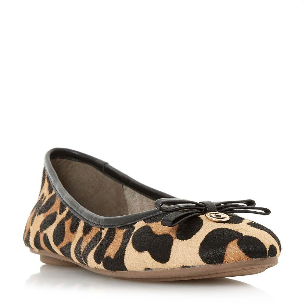 デューン Dune レディース シューズ・靴 スリッポン・フラット【Harps Bow Detail Ballerina Pumps】leopard