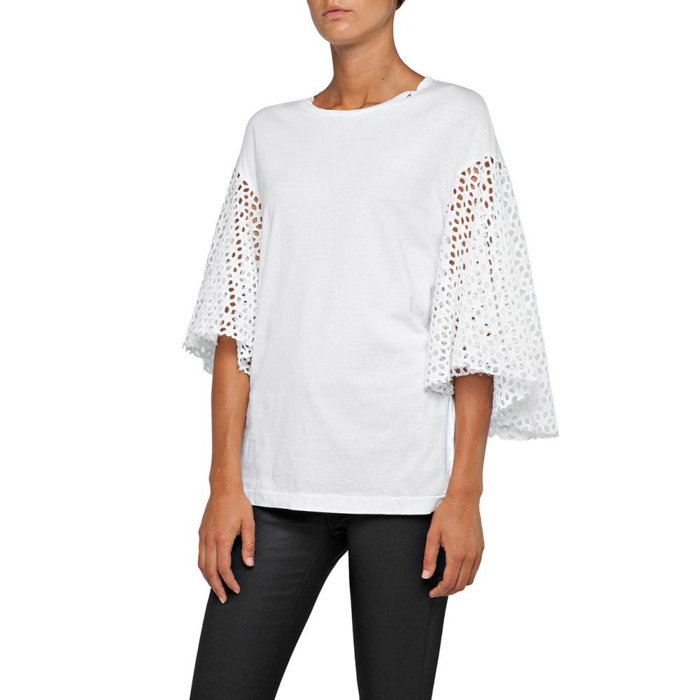 リプレイ Replay レディース トップス Tシャツ【T-shirt With Broderie Anglaise Sleeves】optical white