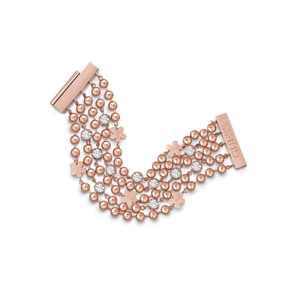 ゲス Guess レディース ジュエリー・アクセサリー ブレスレット【Multi Rows Crystal Bracelet】rose gold