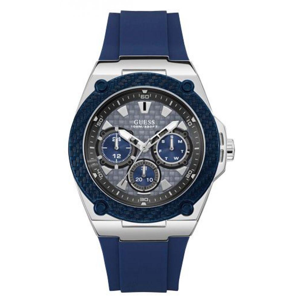 ゲス Guess メンズ 腕時計【Leather Strap Sport Watch】silver