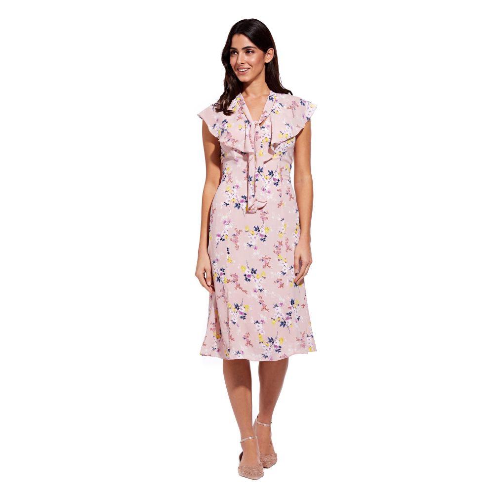 アドリアナ パペル Adrianna Papell レディース ワンピース・ドレス ワンピース【Vintage Ditsy Ruffle Midi Dress】pink