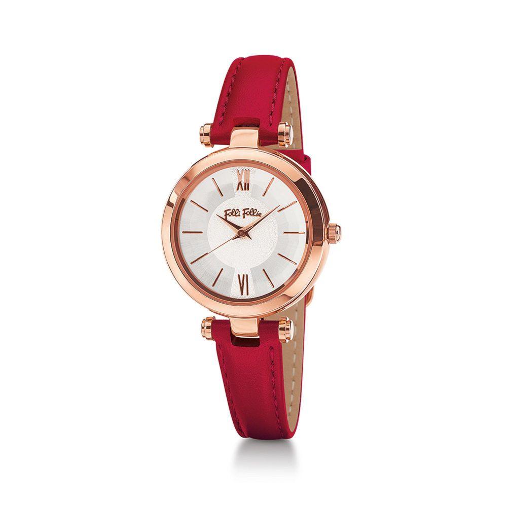 フォリフォリ Folli Follie レディース 腕時計【Lady Bubble Rose Gold & Red Leather Watch】red