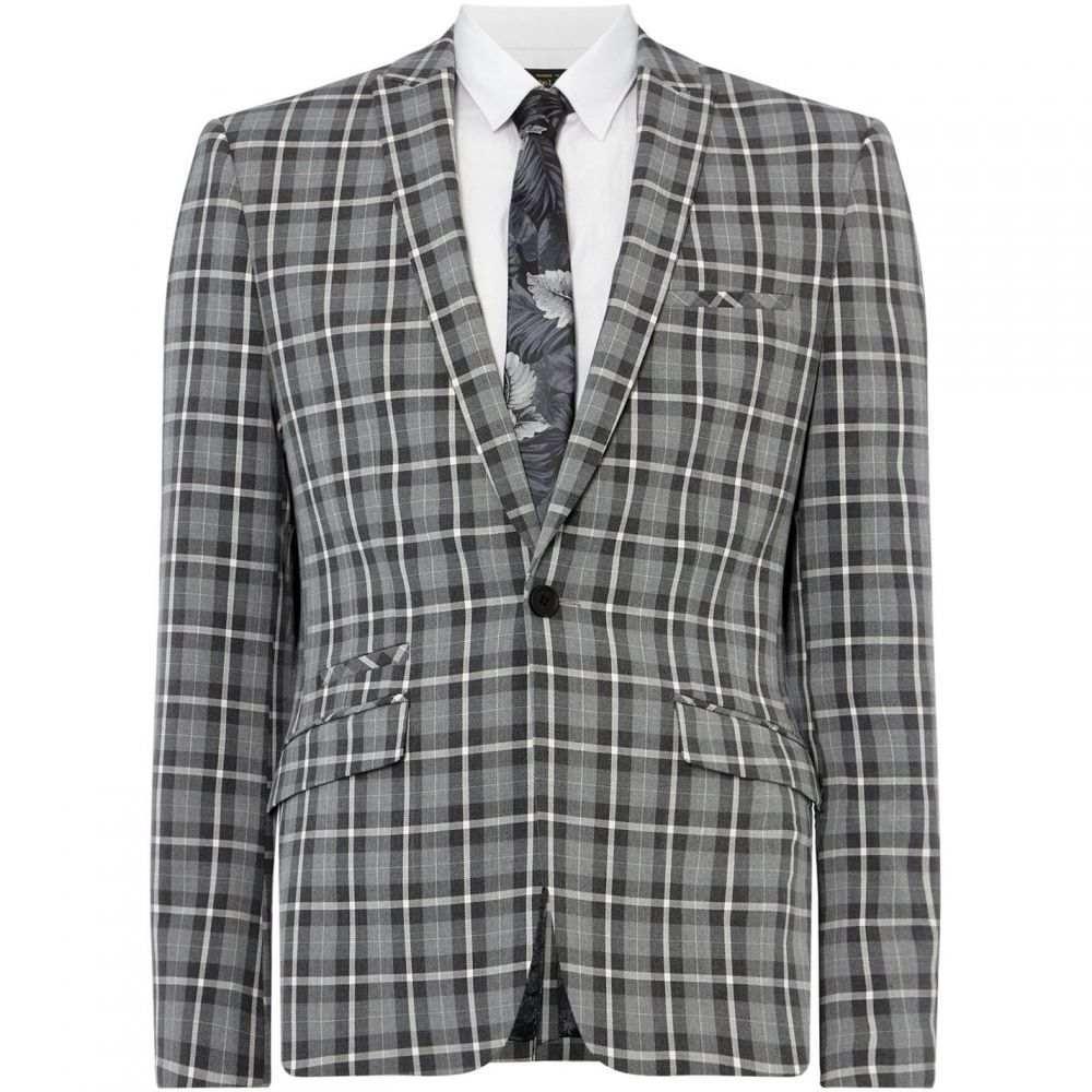 レーベルラボ Label Lab メンズ アウター スーツ・ジャケット【Martini Skinny Fit Monochrome Checked Suit Jacket】Grey