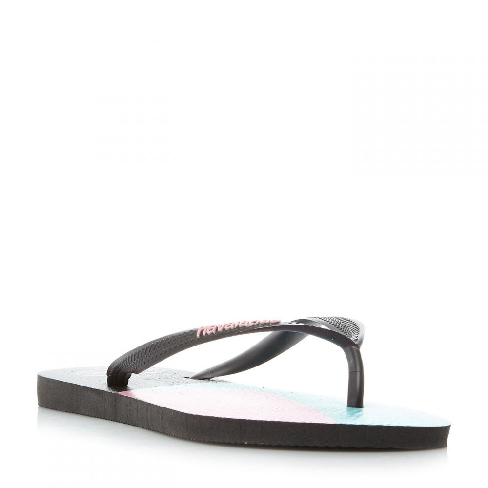 ハワイアナス Havaianas レディース シューズ・靴 ビーチサンダル【4136845 Colour Block Slim Flip Flops】Black