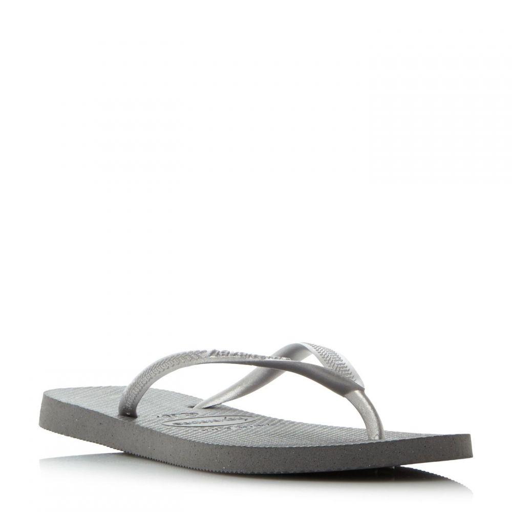 ハワイアナス Havaianas レディース シューズ・靴 ビーチサンダル【Slim Metallic Flip Flops】Grey