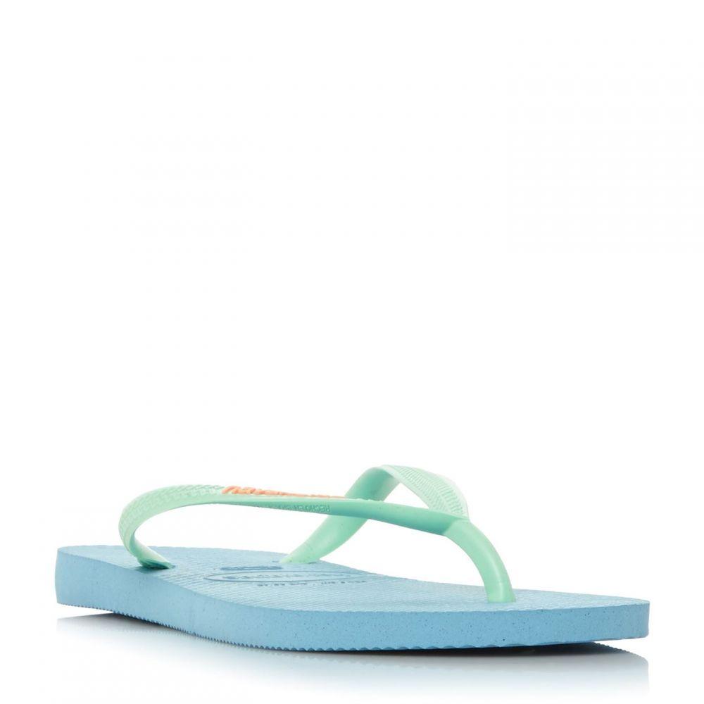 ハワイアナス Havaianas レディース シューズ・靴 ビーチサンダル【Slim Logo Flip Flops】Blue