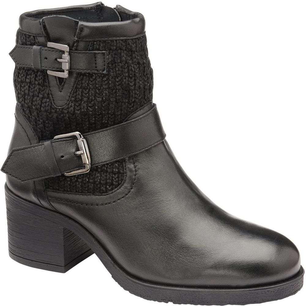 ラヴェル Ravel レディース シューズ・靴 ブーツ【Keswick Heeled Ankle Boots】Black Leather