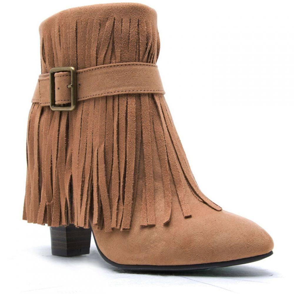キューピッド Qupid レディース シューズ・靴 ブーツ【Madge fringe boot】Beige
