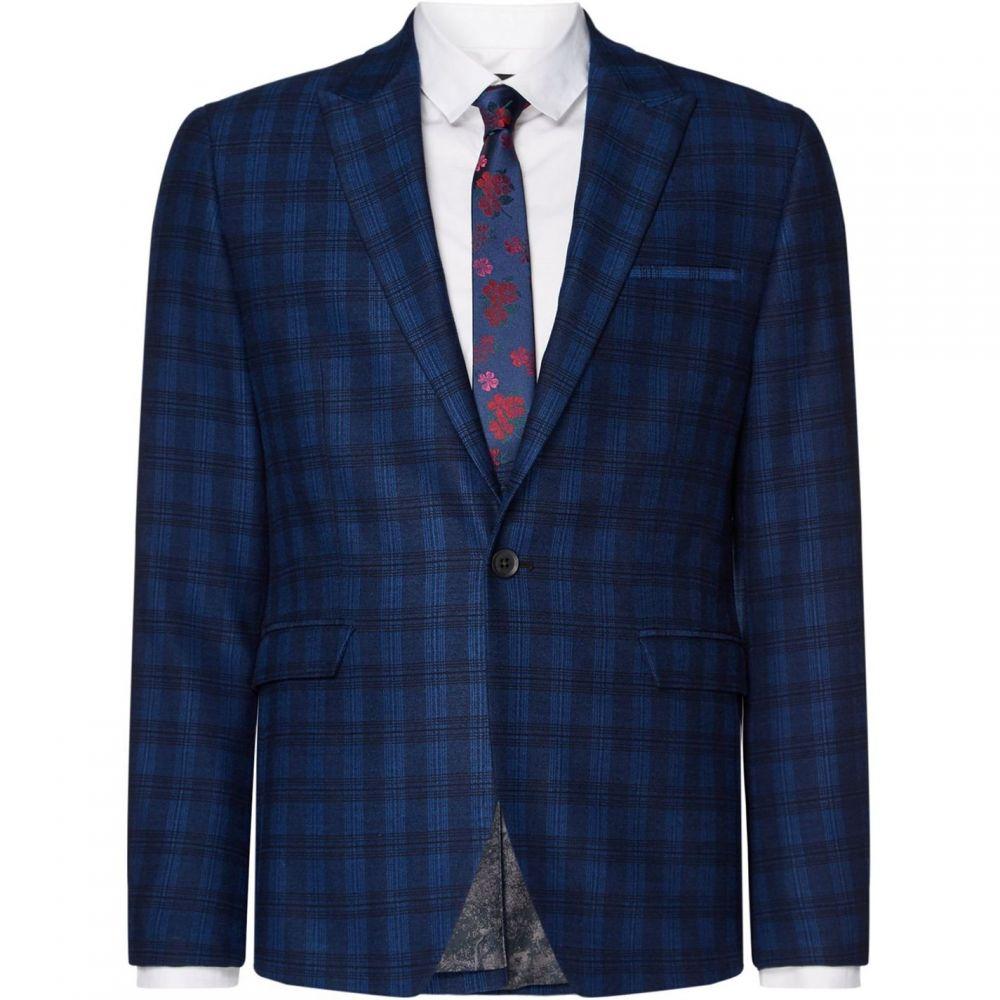 レーベルラボ Label Lab メンズ アウター スーツ・ジャケット【Turner Skinny Fit Large Scale Check Suit Jacket】Blue