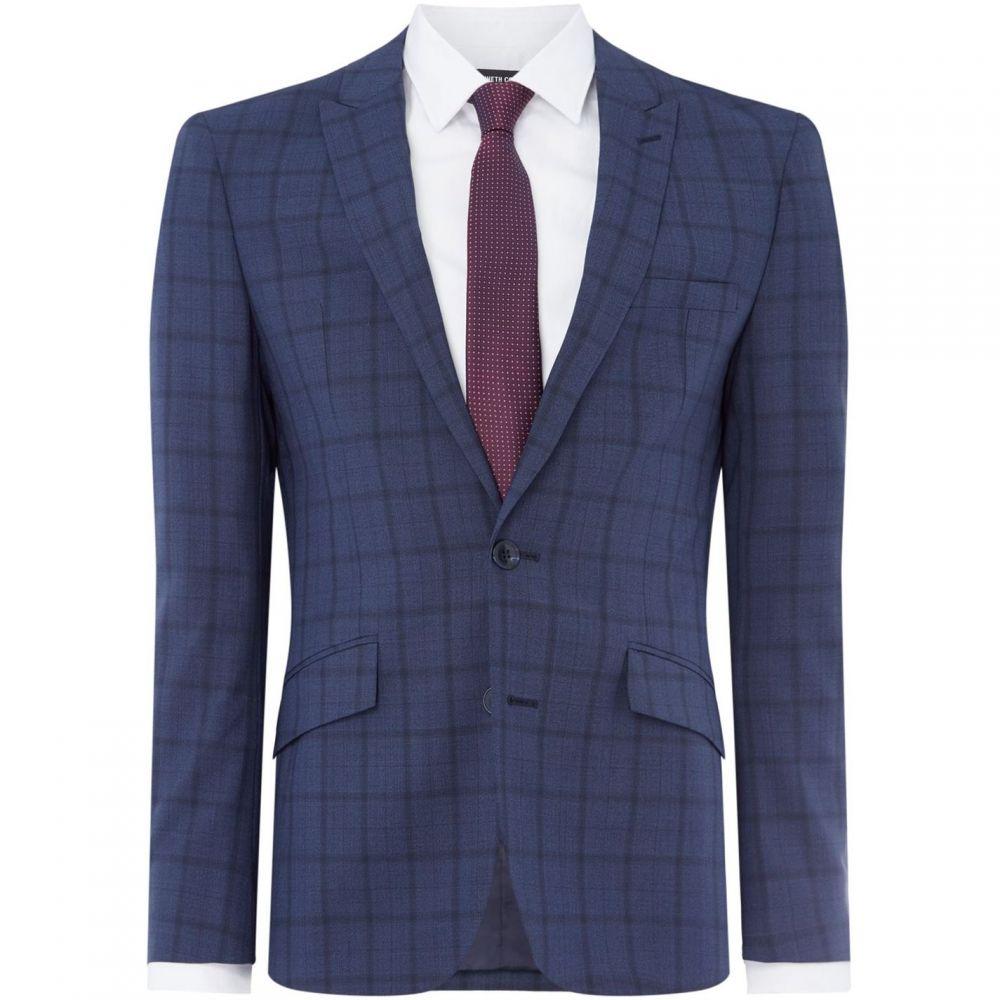 ケネス コール Kenneth Cole メンズ アウター スーツ・ジャケット【Empire Slim Fit Tonal Check Suit Jacket】Denim