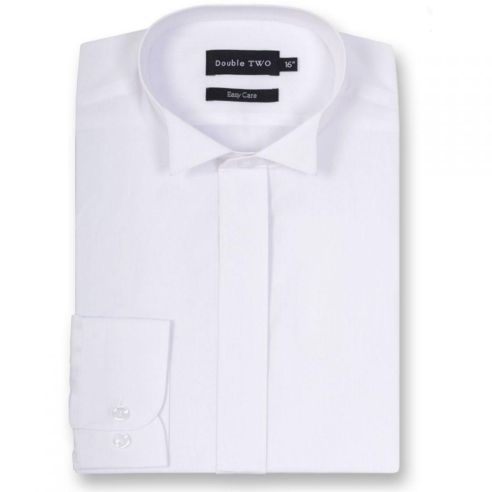 ダブルTWO Double TWO メンズ トップス【King Size Wing Collar Plain Fly Front Dress Shirt】White