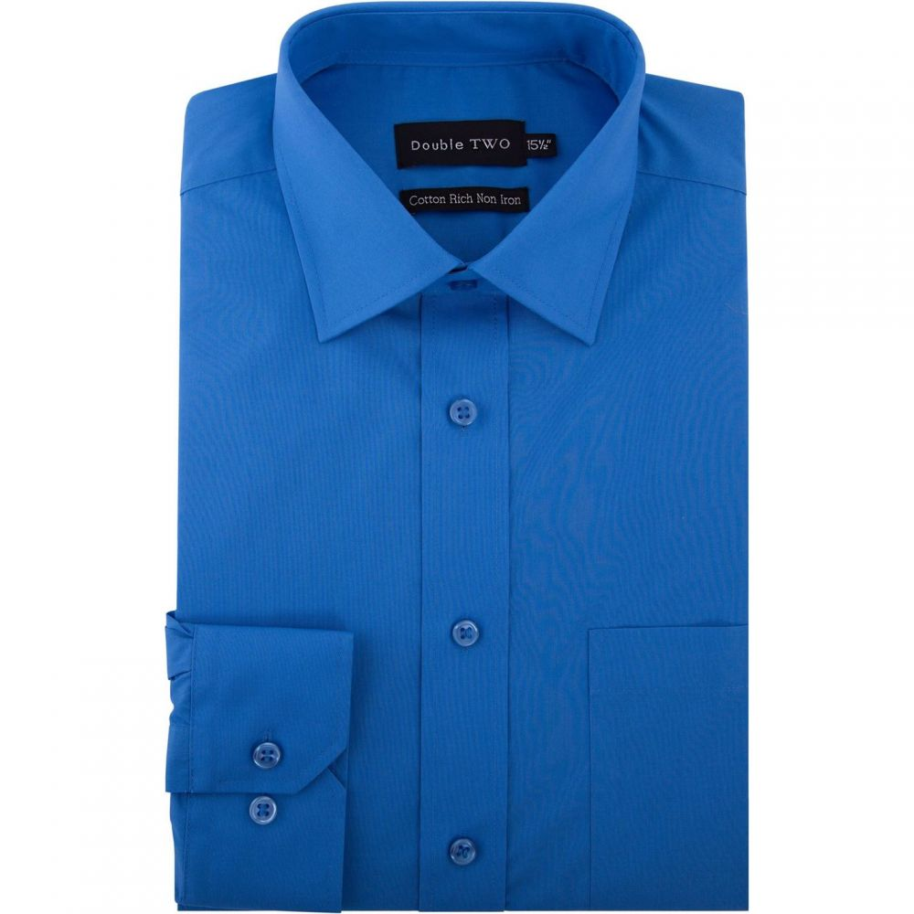 ダブルTWO Double TWO メンズ トップス【King Size Plain Non Iron Cotton Rich Shirt】Blue