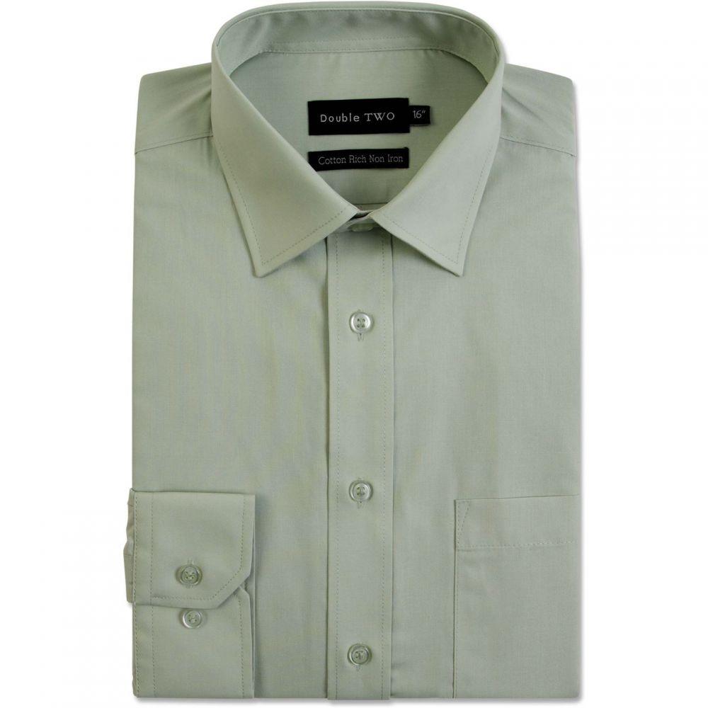 ダブルTWO Double TWO メンズ トップス【Plain Non Iron Cotton Rich Shirt】Green