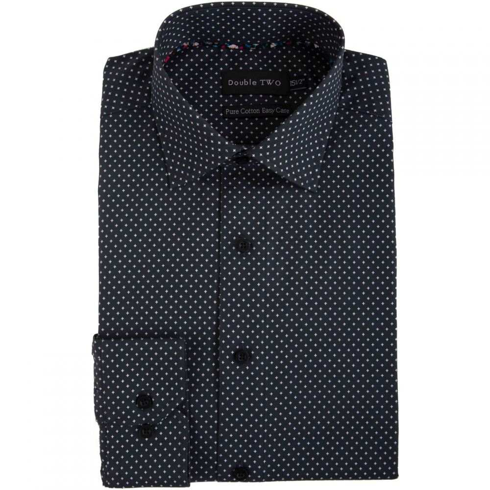 ダブルTWO Double TWO メンズ トップス【Geometric Cross Print Formal Shirt】Black