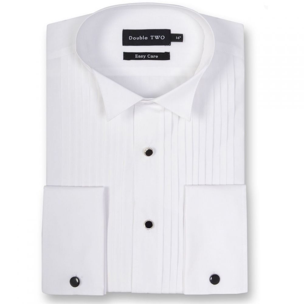 ダブルTWO Double TWO メンズ トップス【King Size Wing Collar Stitch Pleat Dress shirt】White