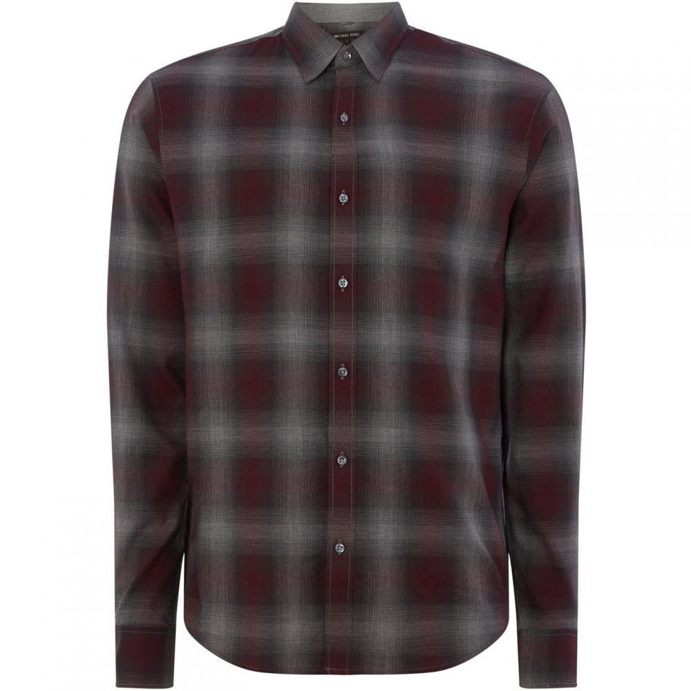 マイケル コース Michael Kors メンズ トップス【Faded Check Shirt】Burgundy