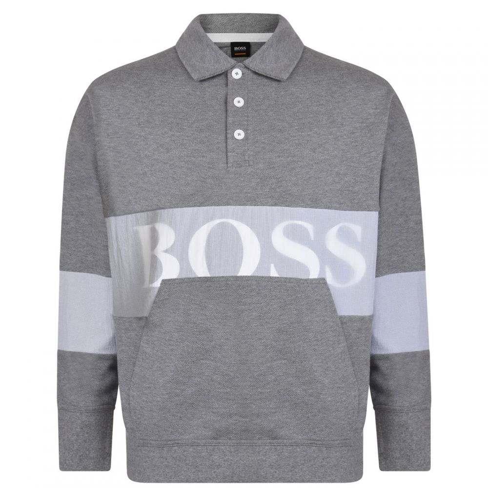 ヒューゴ ボス BOSS CASUAL メンズ トップス ポロシャツ【Wolton Long Sleeve Polo Shirt】Grey/White