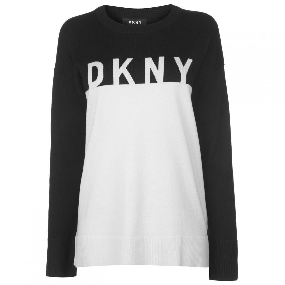 ダナ キャラン ニューヨーク DKNY レディース トップス ニット・セーター【Long Sleeve Crew Neck Knitted Jumper】Black Combo