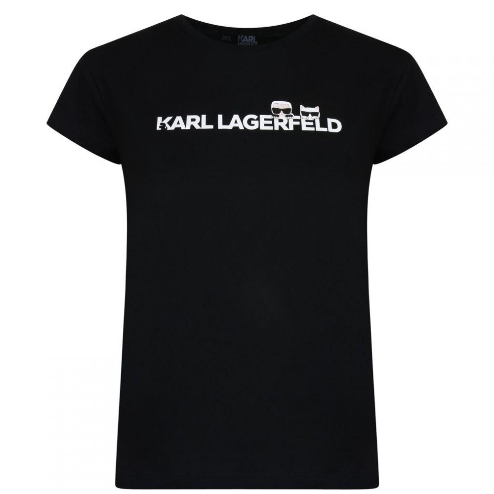 カール ラガーフェルド Karl Lagerfeld レディース トップス Tシャツ【Logo T Shirt】Black