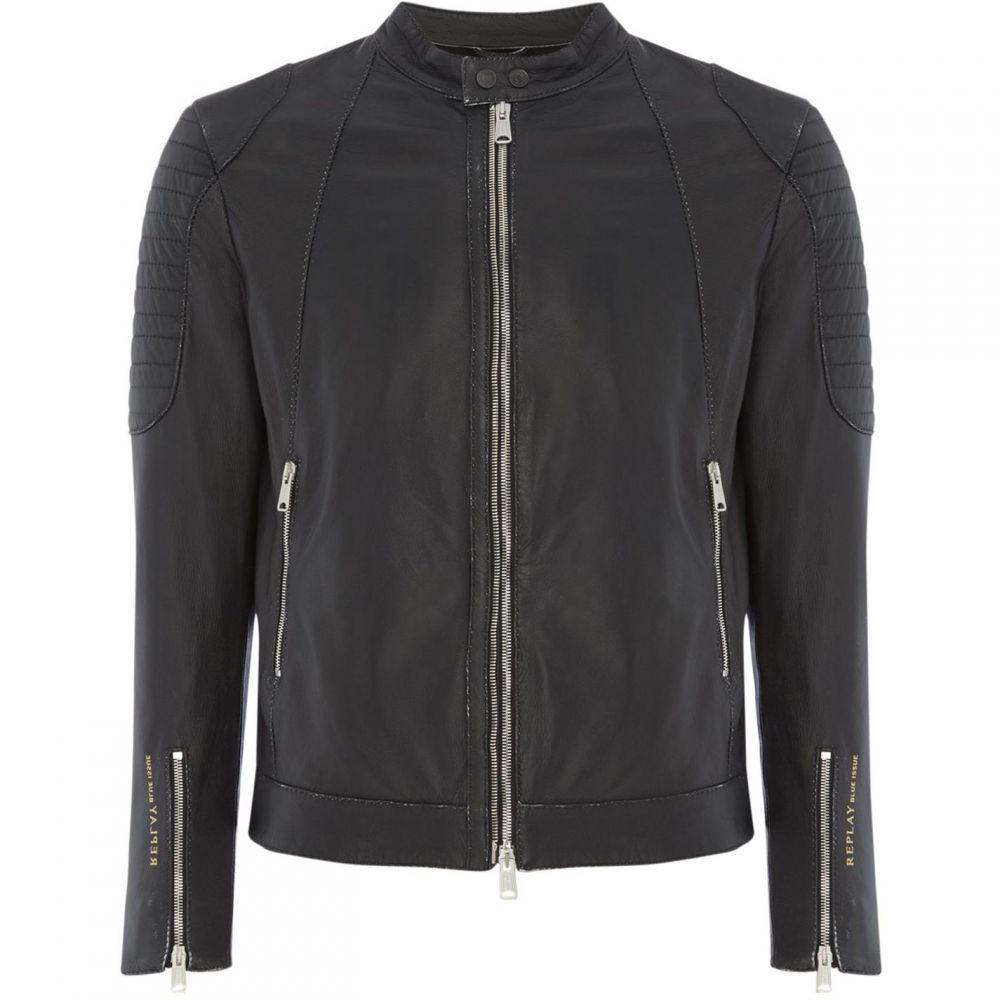 リプレイ Replay メンズ アウター レザージャケット【Sprayed Leather Biker Jacket】Black
